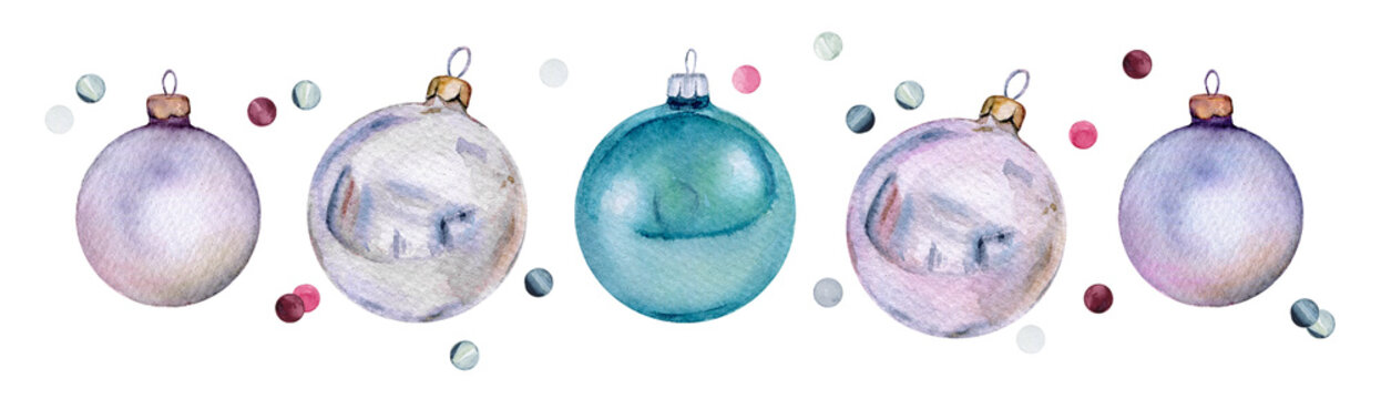 Set of watercolor Christmas glass balls and confetti. Нand-drawn Xmas or New Year decoration