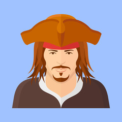 Pirate flat icon on blue background. Male character vector illustration.