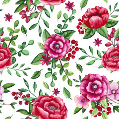 Seamless Pattern of Watercolor Flowers, Berries and Green Foliage