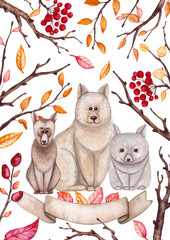 Autumn Card with Watercolor Dogs and Red Berries