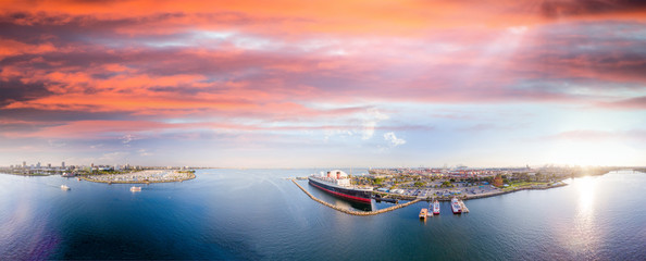 Panoramic aerial view of Long Beach and Queen Mary, California