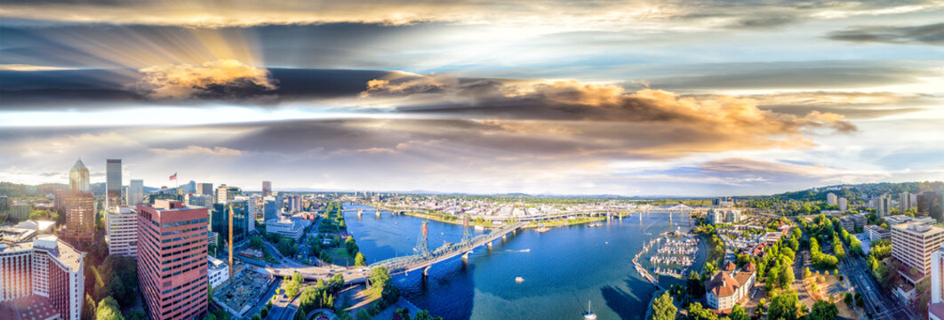 Panoramic aerial view of Portland skyline and Willamette river