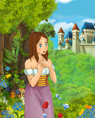 Cartoon scene of beautiful girl in the forest near castle in the background - illustration for children