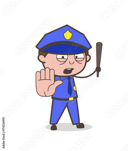 """""""Cartoon Traffic-Police Stop Sign Vector"""" Stock Image And"""