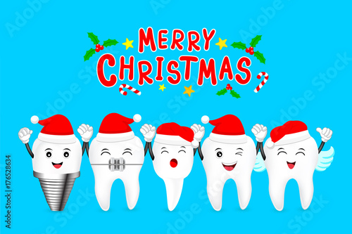 Happy cute cartoon tooth characters with Santa hat. Dental care ...