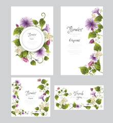 flower background set, for wedding card,greeting, thank you, save the date,gift,product, cosmetics, perfume, health care,beauty,advertising, flyer, brochure.vector illustration