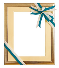 Golden award frame with ribbon bow on white