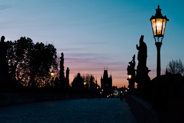 The Charles Bridge at Dawn Silhouetted