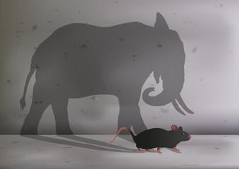 souris - rat - symbole - éléphant - ambition - grand - taille - concept - objectif