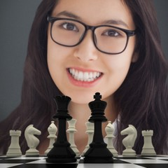 Composite image of smiling woman with glasses