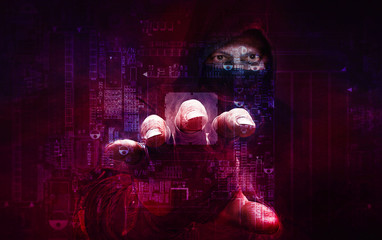 Fototapeta dangerous hacker stealing data -concept