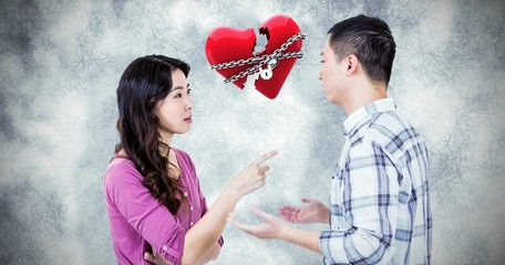 Composite image of young couple arguing