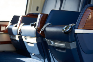 Close Up Of Seats In Empty Helicopter Cabin