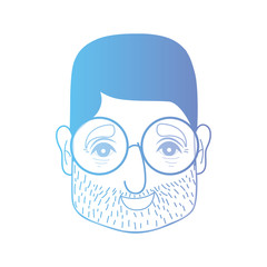 line man head with hairstyle and glasses