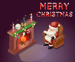 Isometric 3d Santa Claus Read Gift List Sit Armchair Character Icon Holiday Fireplace Background Cartoon Greeting Card Template Poster Vector illustration