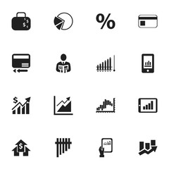 Set Of 16 Editable Logical Icons. Includes Symbols Such As Report, Bar Chart, Line Graph And More. Can Be Used For Web, Mobile, UI And Infographic Design.