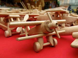 wooden toy airplanes at Christmas market in Pilsen, Czech Republic