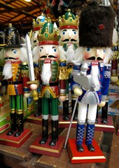 Nutcracker toy soldiers at Christmas market in Prague, Czech Republic