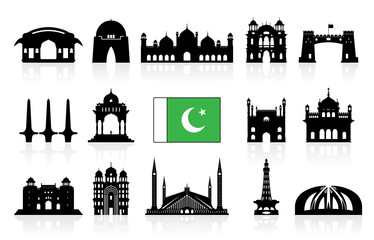 Pakistan Travel Landmarks icon set.