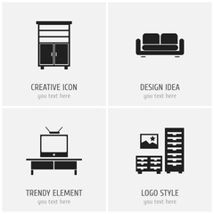 Set Of 4 Editable Furnishings Icons. Includes Symbols Such As Locker, Davenport, Cabinet And More. Can Be Used For Web, Mobile, UI And Infographic Design.