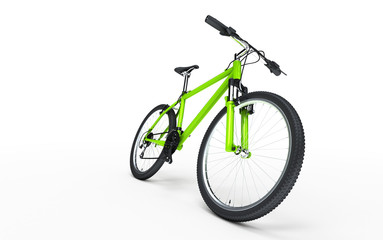 Green bike goes to the right isolated on white background. Sport concept