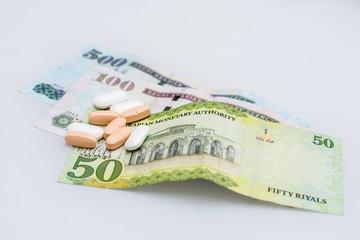 medicine on Saudi Arabia money, medical concept