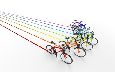3d illustration. Colorful bikes moving for the leader like arrow sign leaving a colored trail isolated on white background. Leadership concept