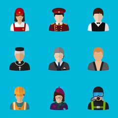 Set Of 9 Editable Profession Flat Icons. Includes Symbols Such As Doorman, Padre, Servant And More. Can Be Used For Web, Mobile, UI And Infographic Design.