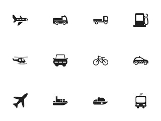 Set Of 12 Editable Transportation Icons. Includes Symbols Such As Cycle, Transportation, Cab And More. Can Be Used For Web, Mobile, UI And Infographic Design.