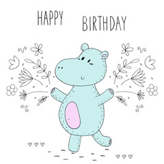 happy birthday card with funny hippo in vector.