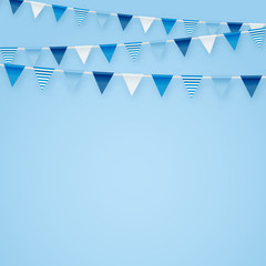Minimalistic tender blue vector background with party flags buntings perfect for kids birthday greeting invitation cards design