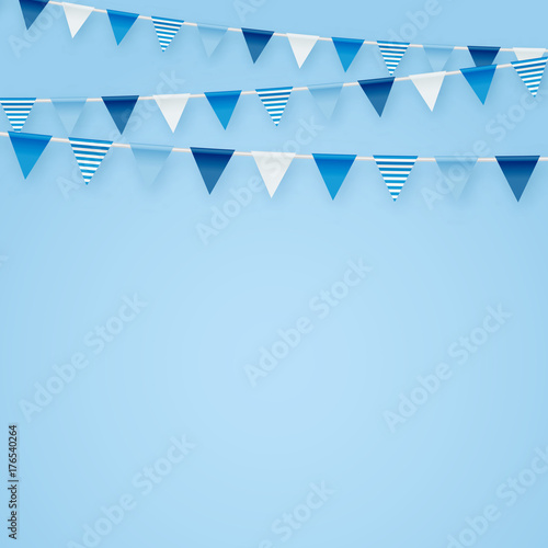 Minimalistic Tender Blue Vector Background With Party Flags Buntings