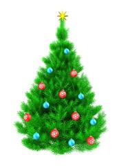 3d vibrant Christmas tree over white