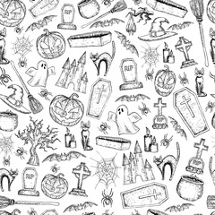 Seamless background of Halloween icons for decoration. Scary Halloween sketch illustration. Vector