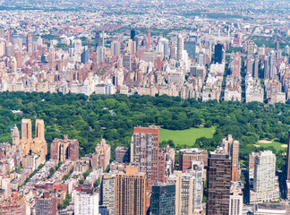 Wall Mural - Helicopter view of Midtown skyscrapers and Central Park, New York City
