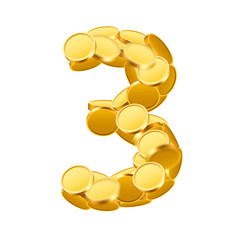 Vector font style made of golden coins. Coin numbers. Number 4. Three.