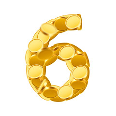 Vector font style made of golden coins. Coin numbers. Number 6. Six.