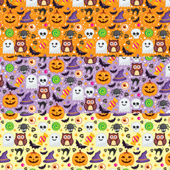 3 Vector seamless pattern different colors for Halloween. Can be used for scrapbook digital paper, textile print, page fill. Vector illustration