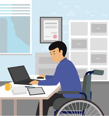 Handicapped businessman sitting on wheelchair and using computer in office. Disable person concept illustration vector.
