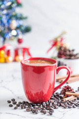 Tuinposter hot coffee cup with christmas decoration