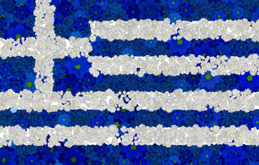 Illustration of a Greek Flag with a flower pattern