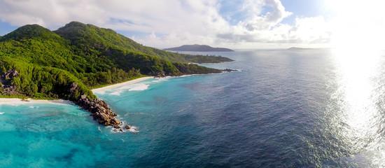 Panoramic aerial view of Grande Anse in La Digue, Seychelles