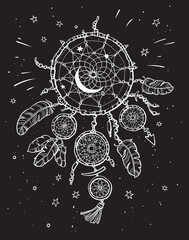 White dream catcher on the black night sky background