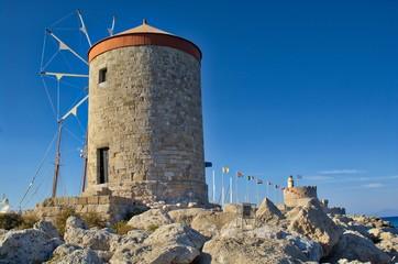 WIndmills in the port of Rhode island, Greece