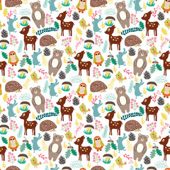 Seamless pattern with cute cartoon forest animals on beige background.