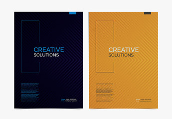 Set of 4 Business Flyer Layouts with Halftone Lines