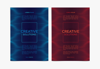 Set of 3 Business Flyer Layouts with Billowy Line Patterns