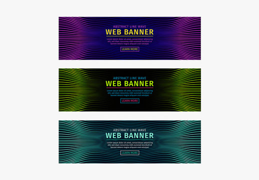 Set of 3 Web Banners with Billowy Line Wave Patterns