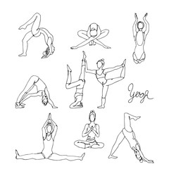Woman in different yoga poses hand drawn sketch. Doodle yoga exercises.