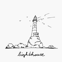 Lighthouse hand drawn outline sketch. Lighthouse on cliffs isolated on white background.